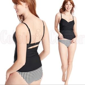 Black Wrap-Front Tankini Top